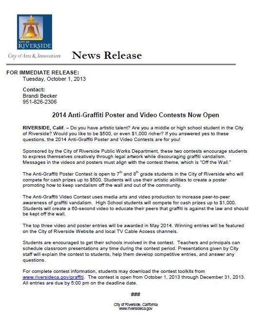 graffiti press release
