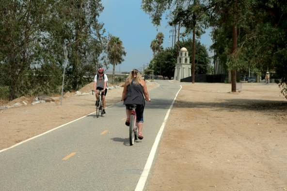 bicyclists on santa ana river trail