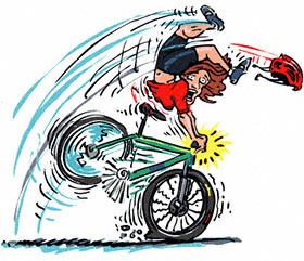 Cartoon illustration of man applying front breaks and flying over handle bars.