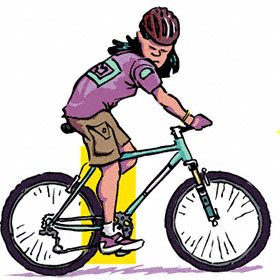 Cartoon illustration of woman riding a bike with the seat too low