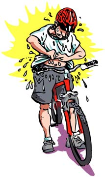 Bicyclist sweating excessively while wearing a t-shirt