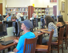 Residents using library computers