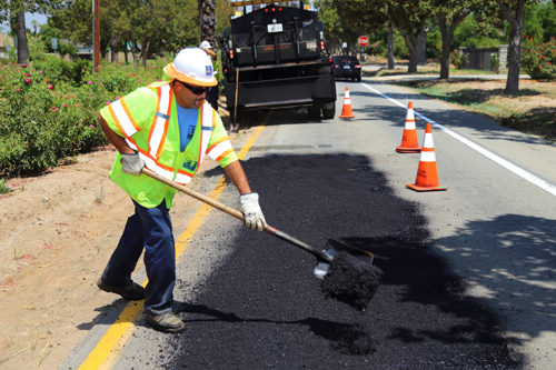 Public Works department fixing potholes