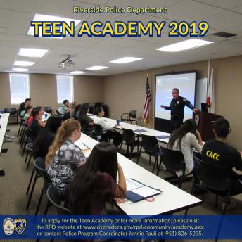 Riverside Police Department Recruiting for Teen Academy 2019